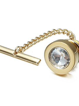 Amazon.com: HAWSON Mens Tie Tack with Chain Round Crystal Wedding Business Accessories: Jewelry