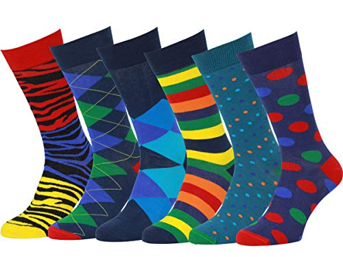 6 PACK - Colorful Patterned Dress socks - 6pk #11,