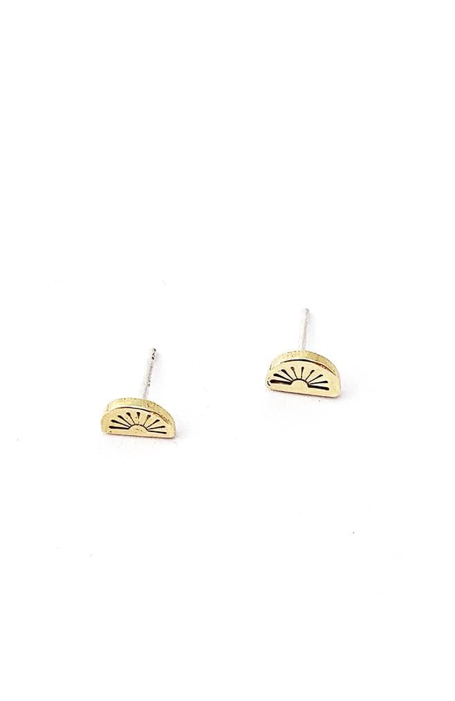 Banshee sunrise stamped brass stud earrings with sterling silver posts