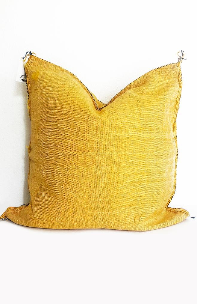 moroccan pillow cactus silk mustard yellow