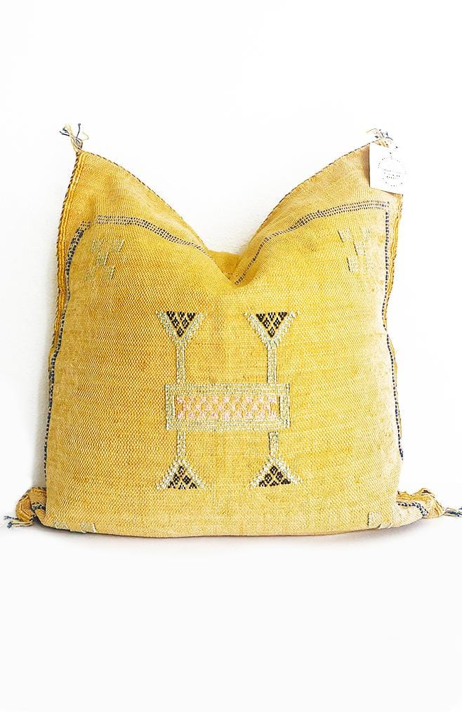 moroccan cactus silk pillow in mustard gold