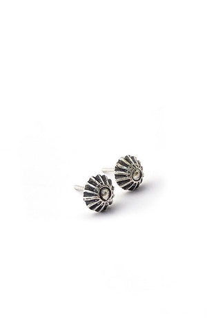 Banshee sunflower designed and hand stamped sterling silver stud earrings with sterling silver posts