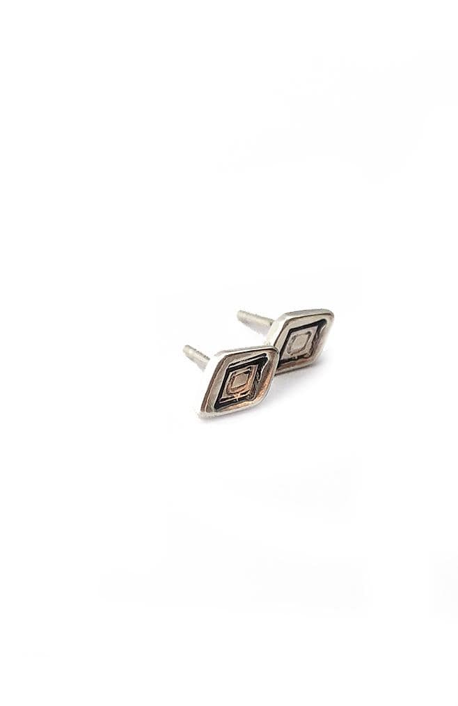 Banshee diamond stamped sterling silver stud earrings with sterling silver posts