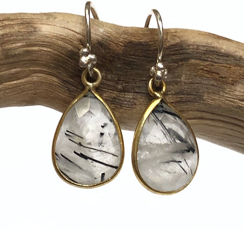 Black Rutilated Quartz Earrings