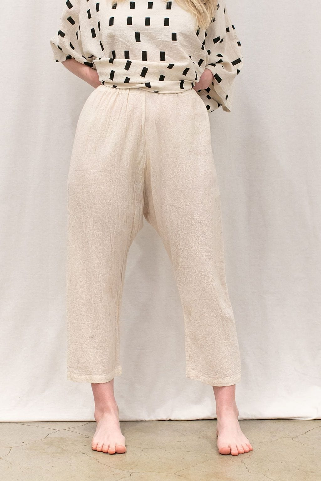 100% Crinkle Cotton Pants | Cream