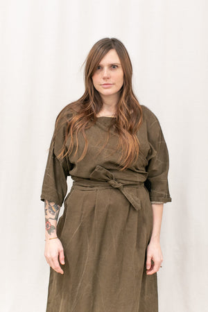 Coarse Cotton Knott Dress in Brown Acid