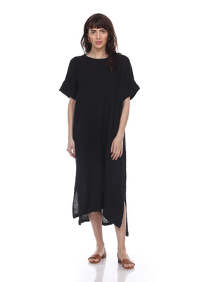 Black Cotton Gauze Dress