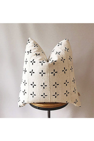 African Mud Cloth Pillow Cover White with Black Crosses