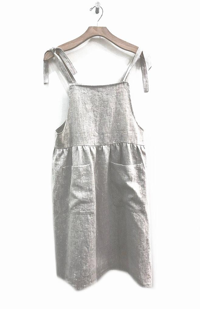 Natural Linen Pinafore Dress