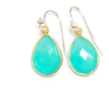 Peru Chalcedony 22k Gold Earrings