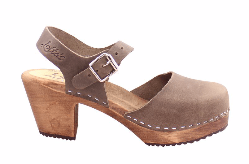 Lotta Mary Jane 561 dark high wood ankle strap Swedish clog in  taupe oiled nubuck leather