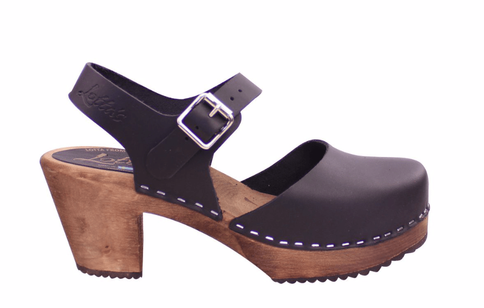 Lotta Mary Jane 561 dark high wood ankle strap Swedish clog in black leather