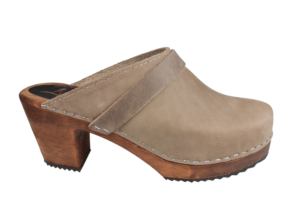 Lotta 131 dark highwood mule slide Swedish clogs in taupe oiled nubuck