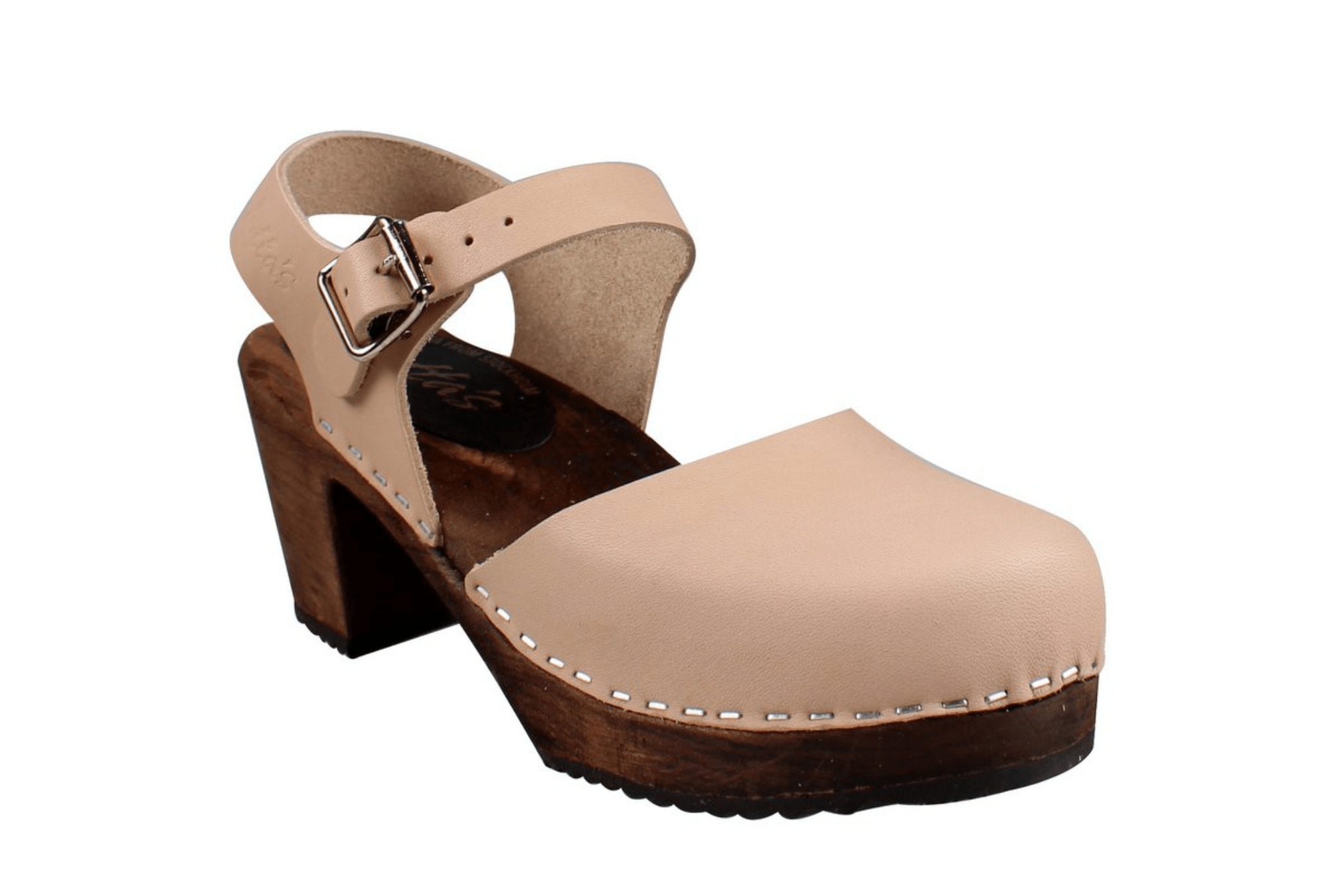Lotta Mary Jane 561 dark high wood ankle strap Swedish clog in  cappuccino leather