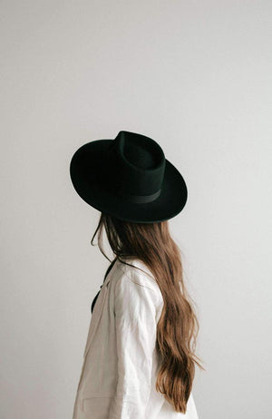 black turned up wide brim hat