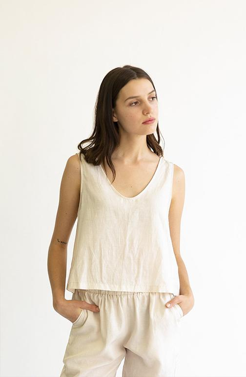 it is well la cotton cupro tank in creme