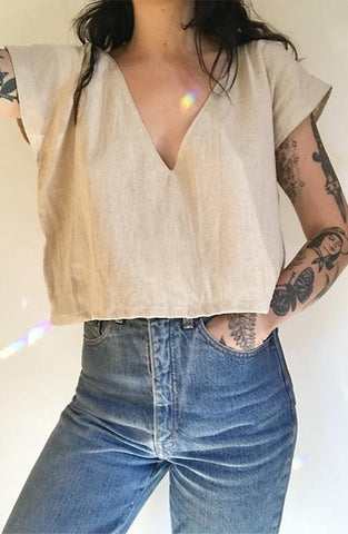 Linen Crop Top by Frond