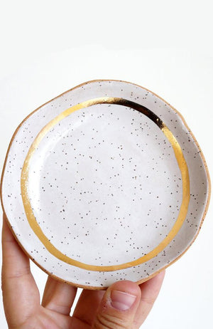 Speckled White + Gold Dish