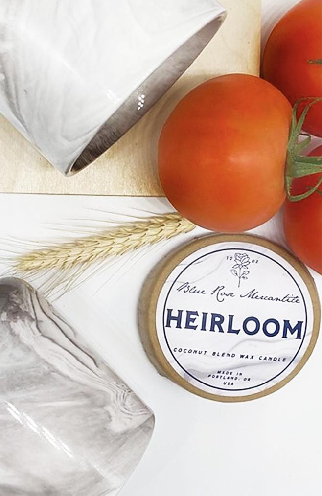 heirloom candle by blue rose mercantile