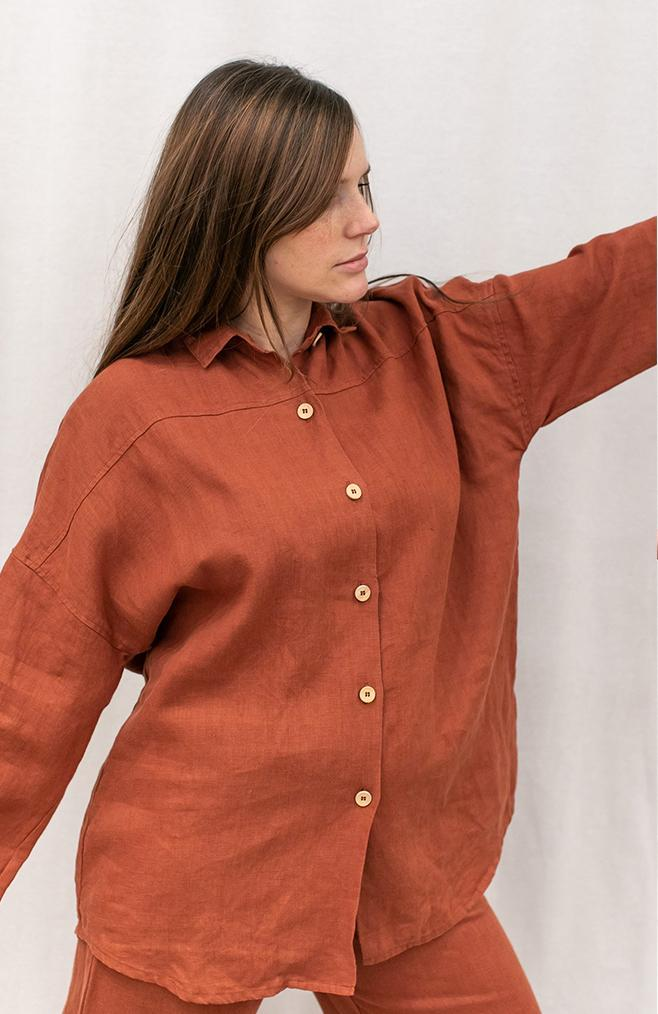 linen fox button down linen shirt
