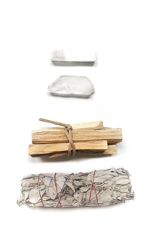 mediation kit sage Palo Santo crystals