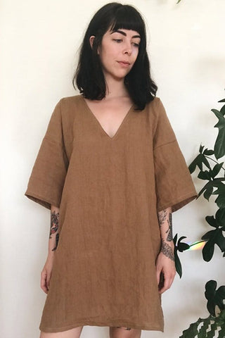Mid Sleeve Deep V Dress in Ginger