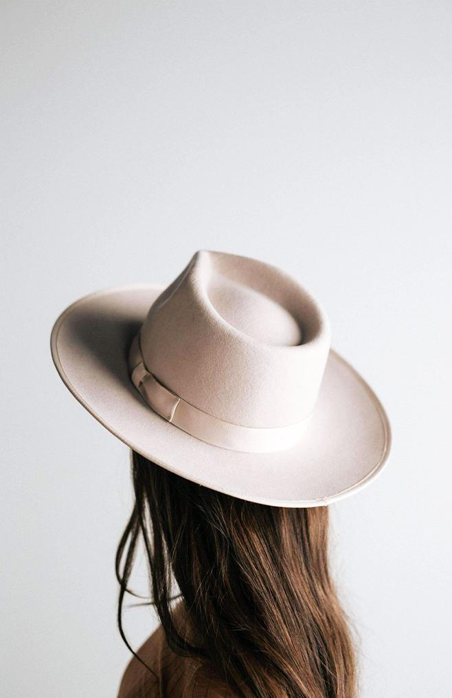 wide brim ivory hat