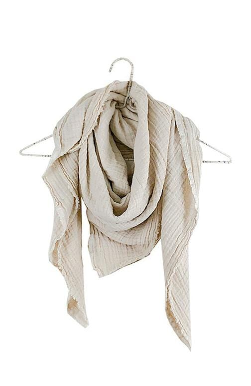 Crinkled Gauze Scarf | Natural