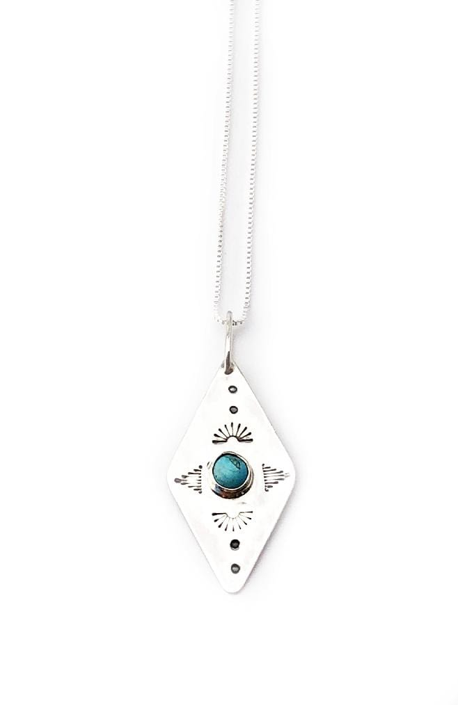 Banshee sterling silver diamond shaped necklace with turquoise stone
