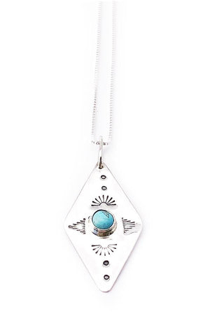 Banshee sterling silver diamond shapes necklace with turquoise stone