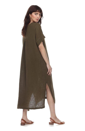 olive cotton gauze dress
