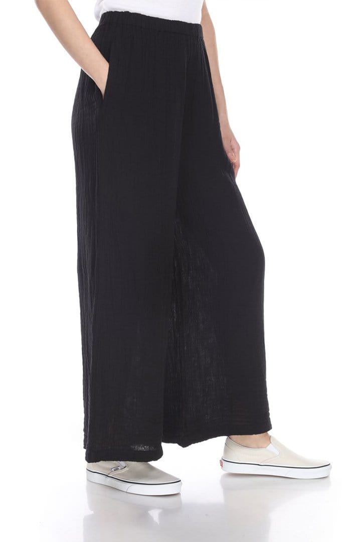 crinkle gauze cotton pants in black