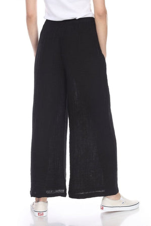 black cotton gauze pants