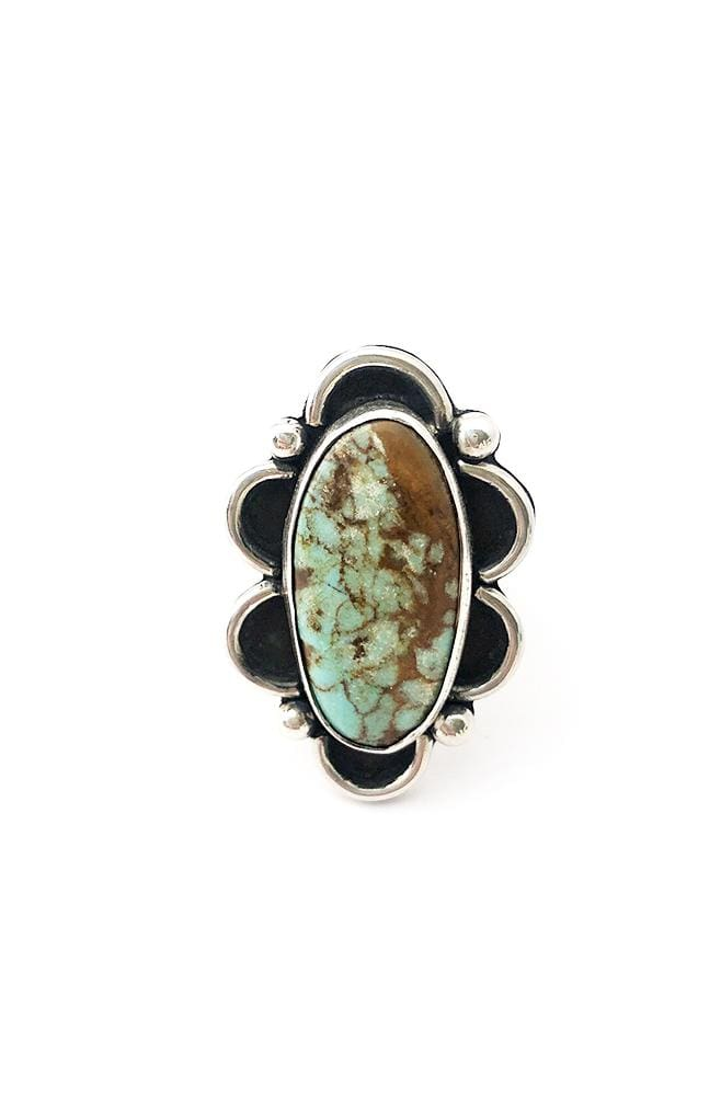 Banshee sterling silver flower designed ring with turquoise stone