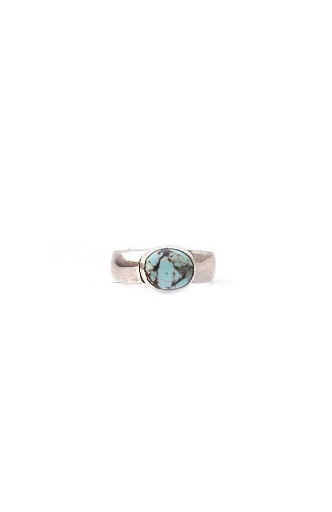 Banshee sterling silver ring with oval turquoise stone