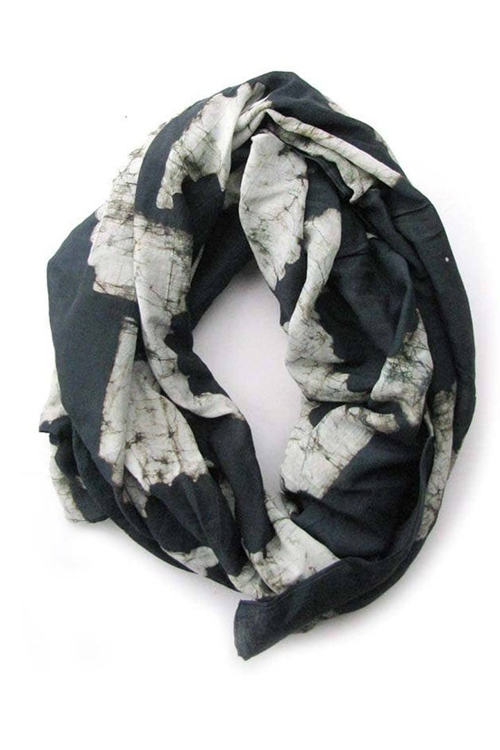 block printed black scarf