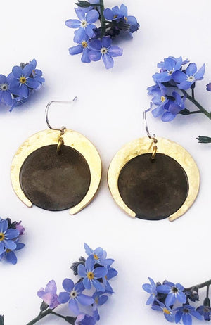 sister moon brass two tone earrings