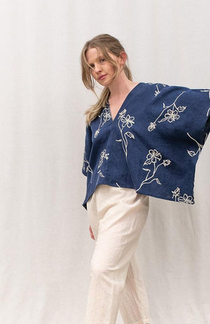 linen floral top by nettle studios