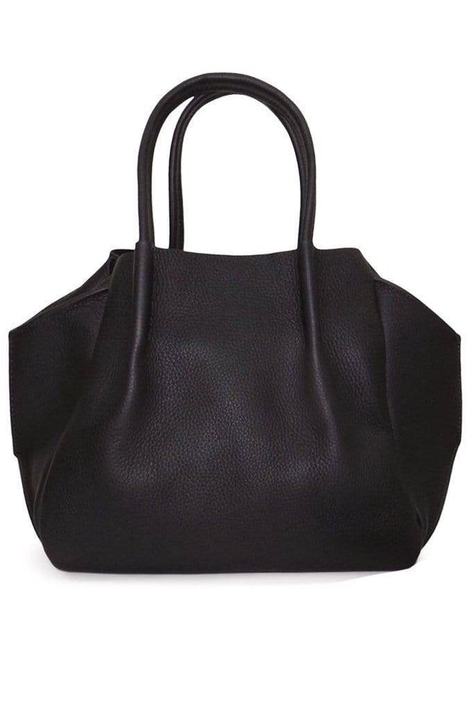 black leather convertible tote bag