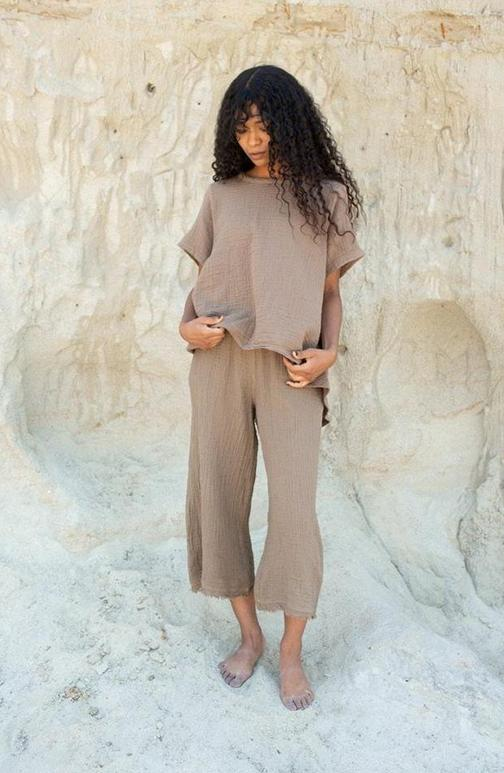 Palazzo Crop Pant | Taupe