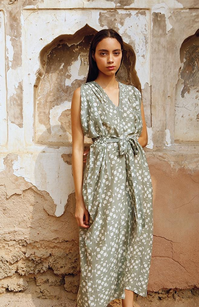 vana dress green tile