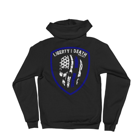 Liberty or Death Project Skullmerica Blue Line Hoodie back