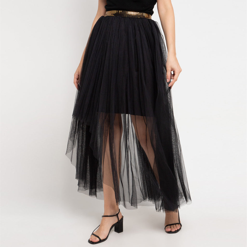 Queen Long Skirt With Tulle in Black With Gold Accent-2MADISONAVENUE.COM