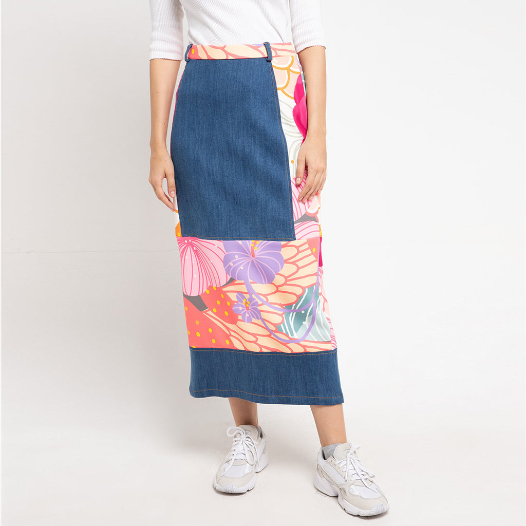 Gangsta Denim Skirt With Recharging Pink-2MADISONAVENUE.COM (4329868132375)