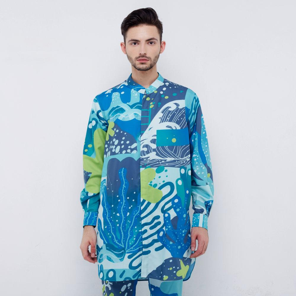 Liga Man Retreat printed shirt in Aqua (4534896525335)