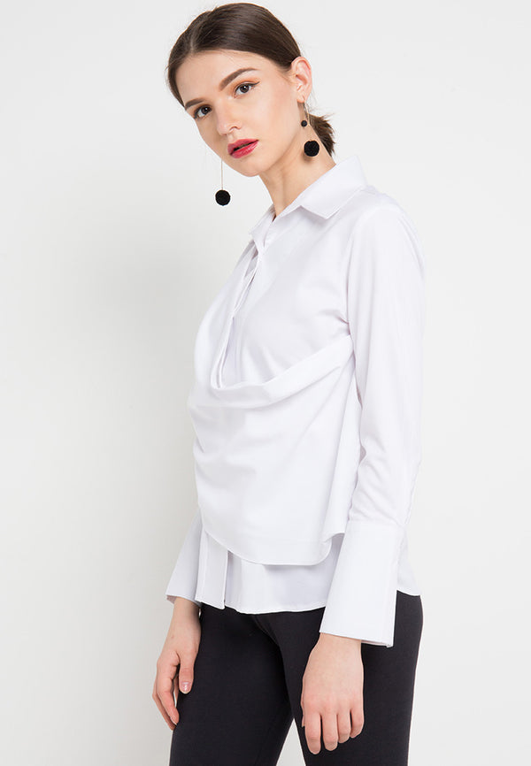 Fancy Blouse with attached Scarf In White-2MADISONAVENUE.COM