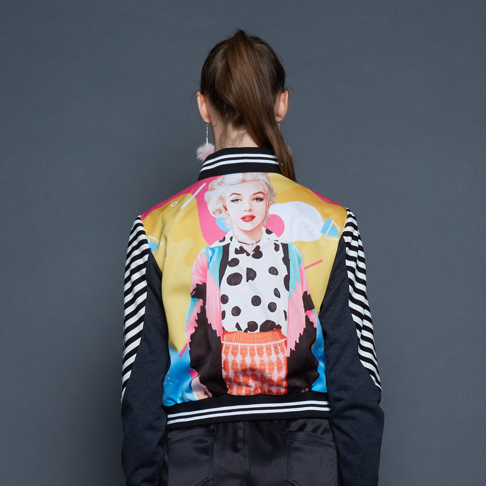 Varsity Jacket With Marilyn Pop Art-2MADISONAVENUE.COM