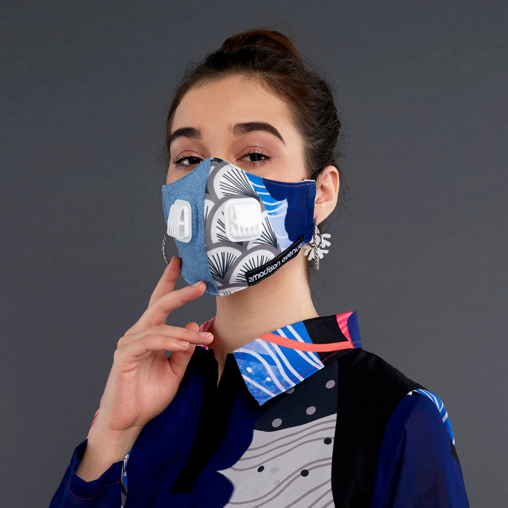 Recharging Blue Facemask With Air Valve (4417763475479)
