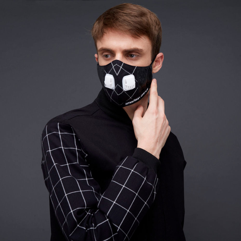 Black Leather Facemask With Air Valve (4426372579351)