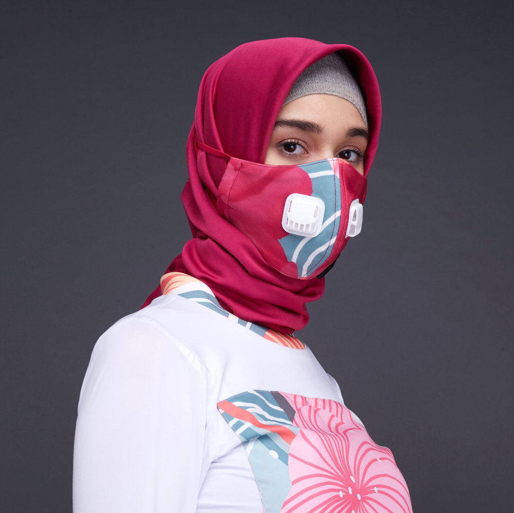 Recharging Pink Hijab Mask With Air Valve